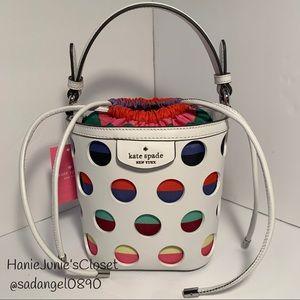 KATE SPADE PIPPA PERFORATED DOT SMALL BUCKET BAG